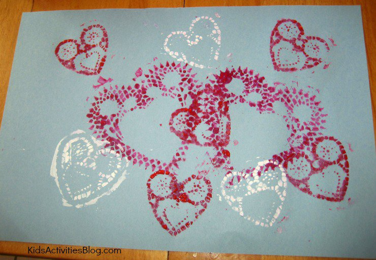 Kids Activities Blog - Valentine Printmaking With Doilies