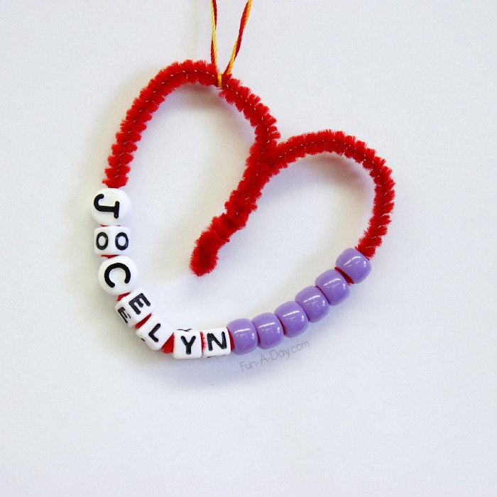 Fun-A-Day - Fine Motor Valentines Craft - Beaded Name Hearts