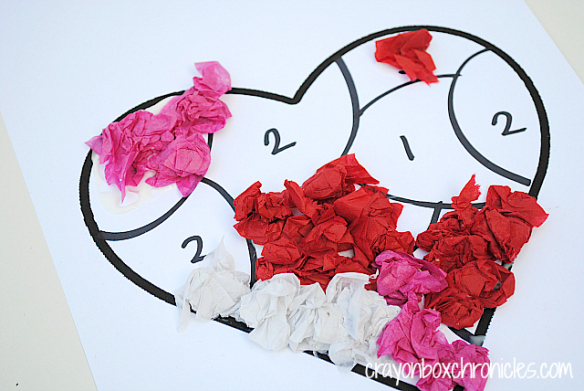 Crayon Box Chronicles - Heart Tissue Paper-by-Number Craft