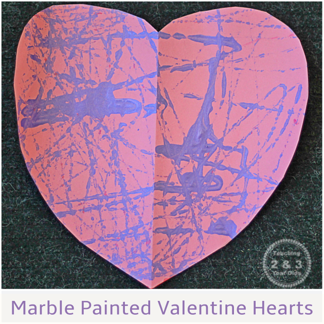 Teaching 2 and 3 Year Olds - Easy Marble Painted Valentine Heart