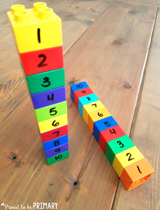 lego stacks to order numbers - building number sense to 20