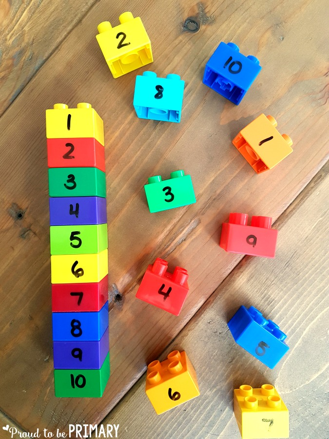 lego stacks to order numbers for building number sense to 20