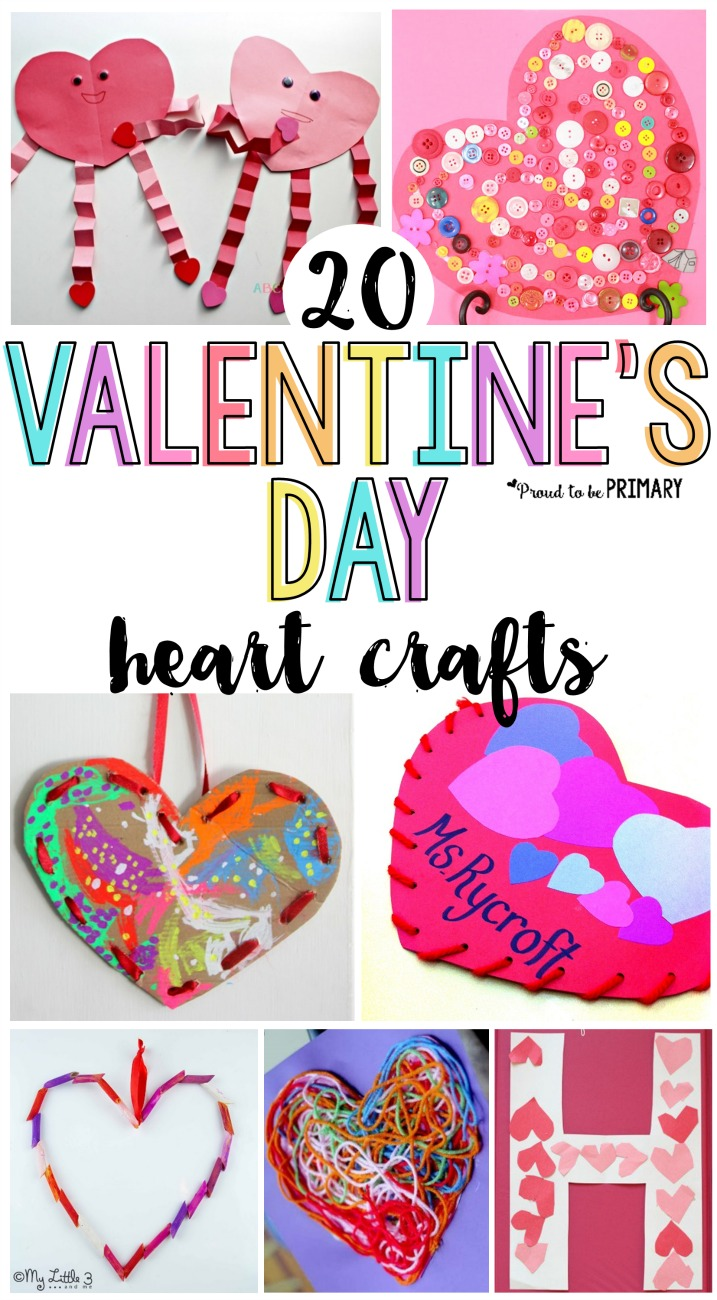 20 Valentine's Day heart crafts for kids they will love! Create valentine heart pockets, crowns, sun catchers, and more special keepsake projects for February with a few basic supplies. #valentinesday #valentinesdayactivities #craftsforkids #classroomactivities #teacherfreebie #classroomcelebration