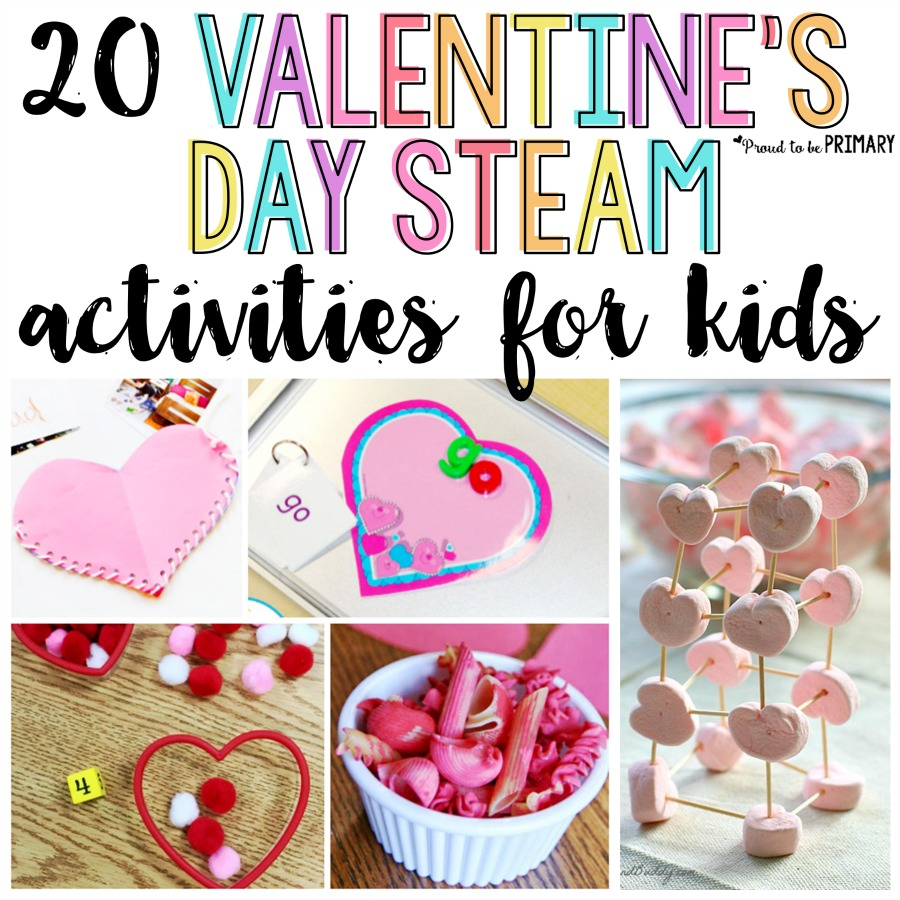 20 Valentine's Day STEAM activities for kids, including valentine arts & crafts, sight word and candy heart activities, hands-on math and science experiments, and learning ideas for February. #steam #stem #valentinesday #valentinesdayactivities #craftsforkids #classroomactivities #classroomcelebration