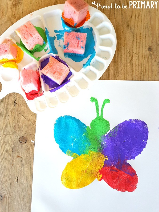 Proud to Be Primary - Spring Shape Sponge Art