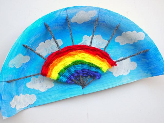 Pink Stripey Socks - Rainbow Paper Plate Weaving