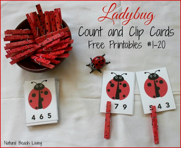 Natural Beach Living - Ladybug Math Printable Counting Clip Activity