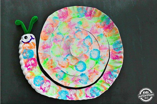 Kids Activities Blog - Cotton Ball Painted Snail