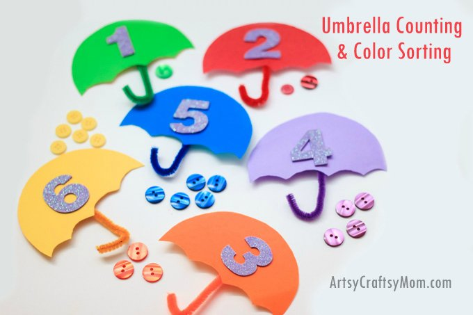 Artsy Craftsy Mom - Umbrella Counting and Color Sorting