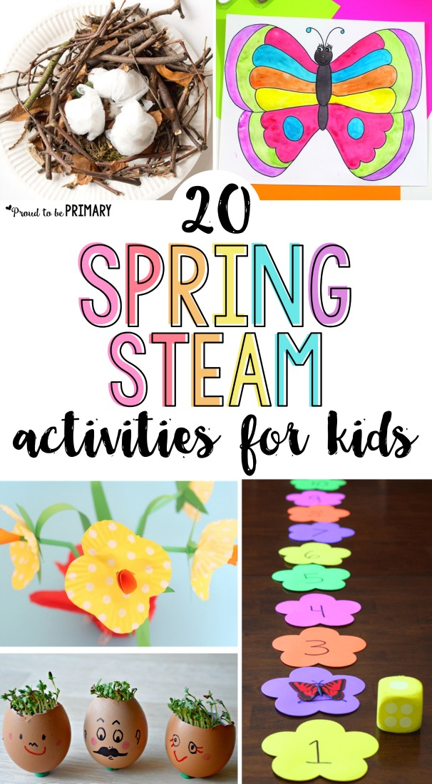 20 spring STEAM activities for kids. Teach about flowers, butterflies, birds, and plants with arts & crafts, hands-on math and science experiments, and other learning ideas for spring. #steam #stem #spring #springactivities #springstem #artforkids