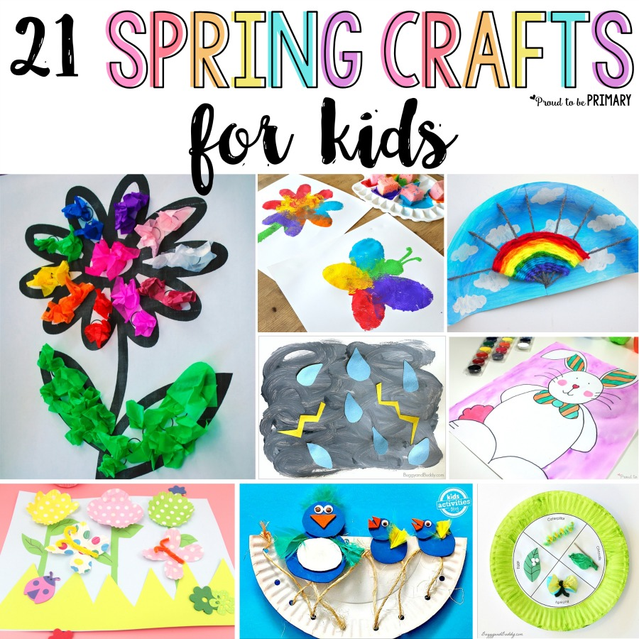 These 21 spring crafts for kids are fun and easy to make in the classroom or at home with simple materials! Create colorful arts & crafts of rainbows, butterflies, birds, flowers, and more to decorate this spring! #spring #springactivities #springart #springcrafts #craftsforkids #artforkids