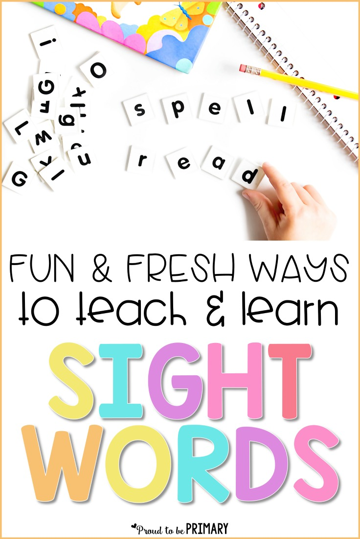 Looking for hands-on sight word learning ideas for the classroom? Find tons of fresh and fun ways to teach and learn sight words with young kids. Help preschool, Kindergarten, and primary children learn sight words and grab a FREE printable resource. #teacherfreebie #sightwords #sightwordactivities #teachingreading #firstgrade #kindergarten #earlyliteracy #wordwork