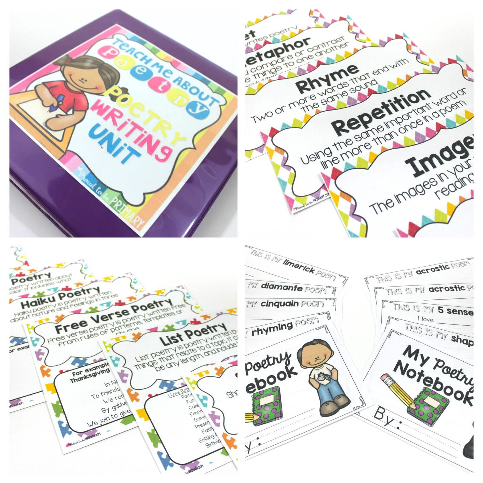 poetry mega bundle - poem of the week, poetry writing unit, poetry mats