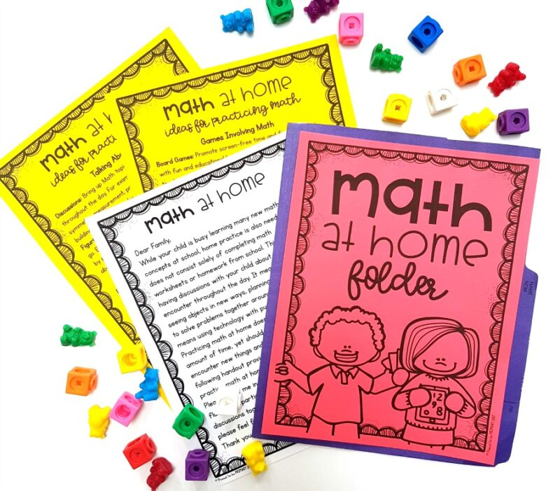math at home folder parent sheets
