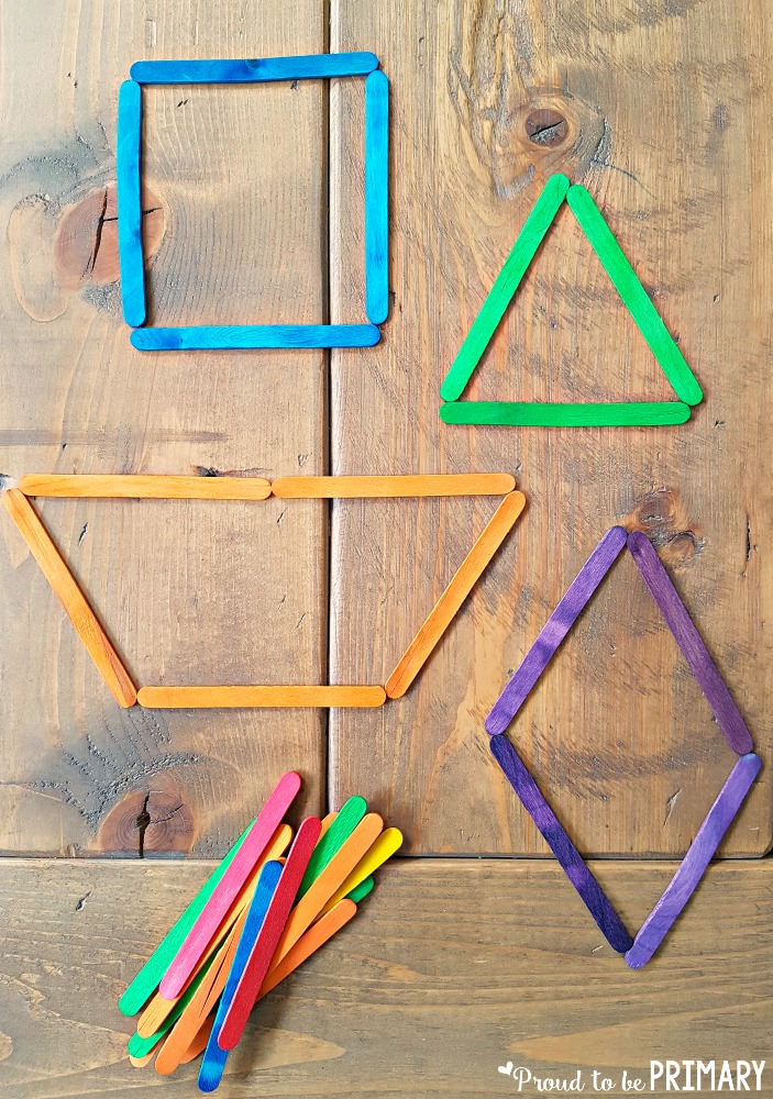 geometry and shapes for kids - popsicle sticks