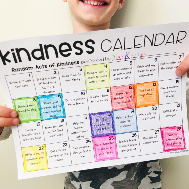 kindness calendar as a challenge as a social-emotional learning activity