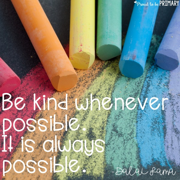 6 ideas for teaching kindness in the classroom. Encourage kindness through setting goals, random acts of kindness challenge, book ideas, and lesson suggestions. Includes FREE kindness awards!