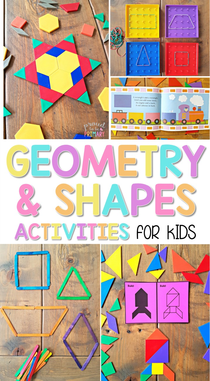 The ultimate spot for geometry and shapes activities for kids in Kindergarten and first grade. Kids will have fun learning, playing, and building with shapes, blocks, and more, while trying out the ideas and resources. A FREE printable pattern block symmetry activity is included that you can try today!