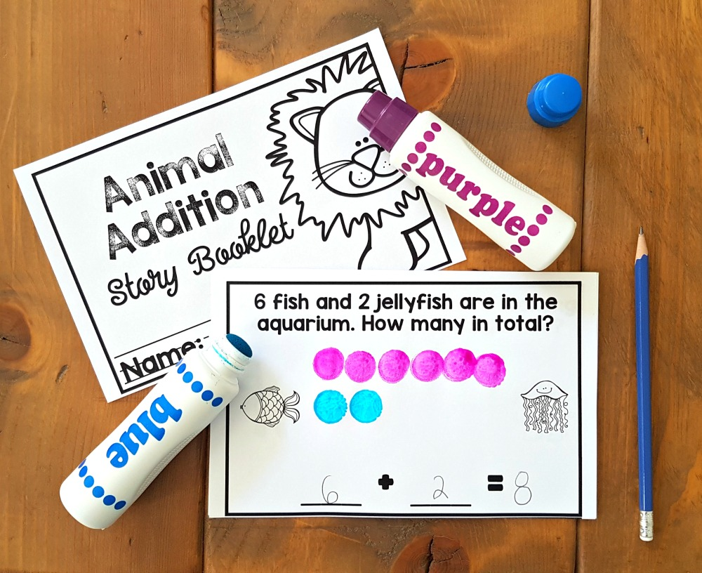 addition and subtraction activities for kids - dot markers