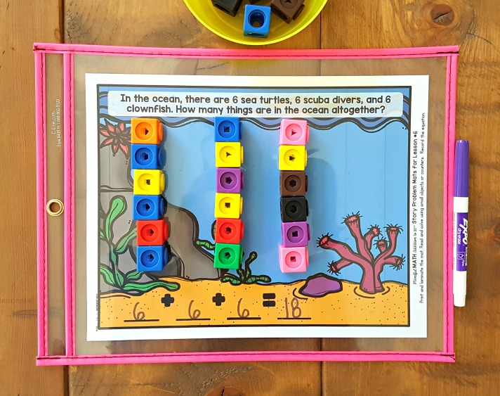 addition and subtraction activities for kids - counting cubes