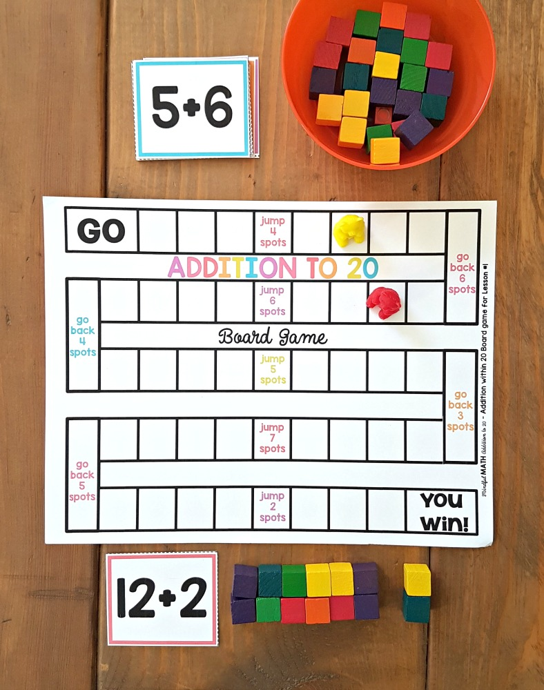 addition and subtraction activities for kids - printable board game