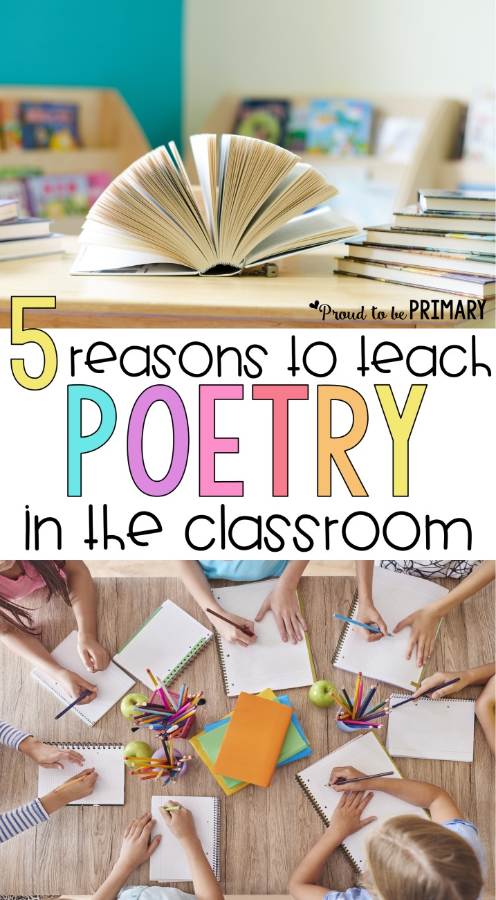 why teach poetry | 5 reasons to teach poetry in the classroom. Instill a love for poems in children with the right activities to build reading, writing, language, and early literacy skills. Grab a FREE poem and activities for kids and ideas for your poetry lessons! #poetry #poetryforkids #poemoftheweek #earlyliteracy #teachingreading #poemsforkids #poetrywriting