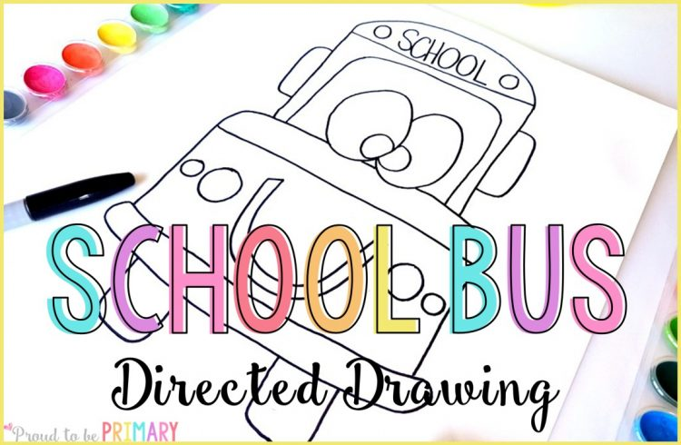 back to school bus directed drawing