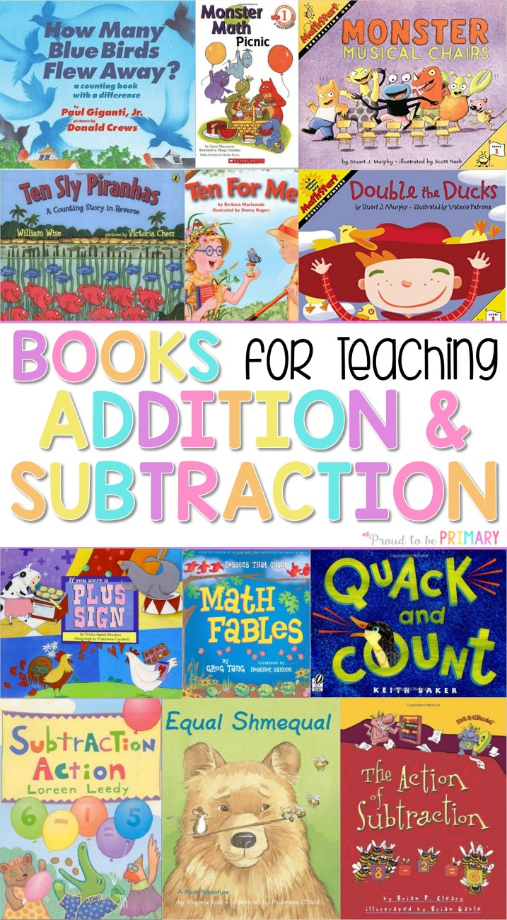 addition and subtraction activities for kids - books