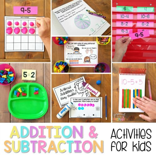 addition for kids and subtraction for kids - activities to 20