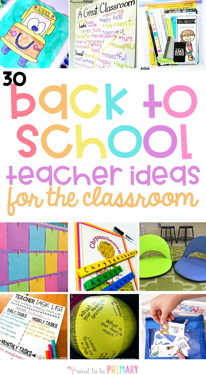 30 back to school teacher ideas for the classroom. Plan your first days with engaging activities for kids, community building ideas, classroom management tricks, organizational tips, and more!