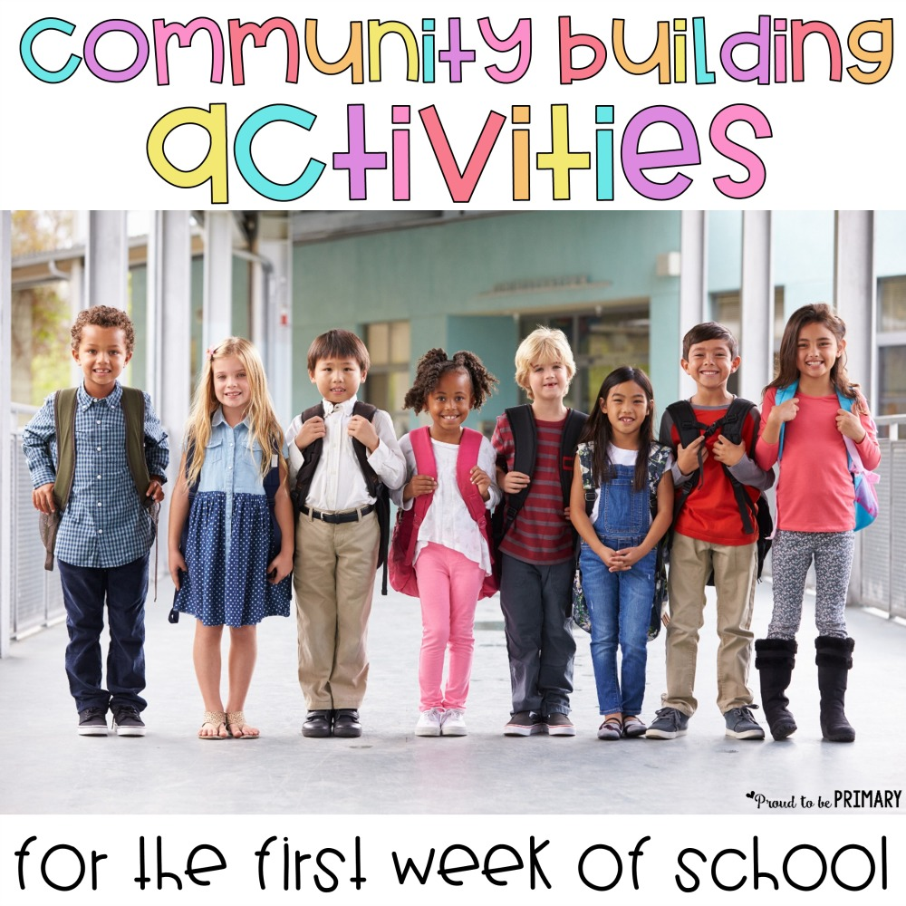Teachers, here are engaging and fun activities to build classroom community during the first week of school. These back to school community building activities (STEM, books, ice breakers, games) will help students learn and practice social skills and develop friendships. #backtoschool #b2s #teachertips #communitybuilding #firstweekofschool #socialemotionallearning #friendshipbuilding #socialskills
