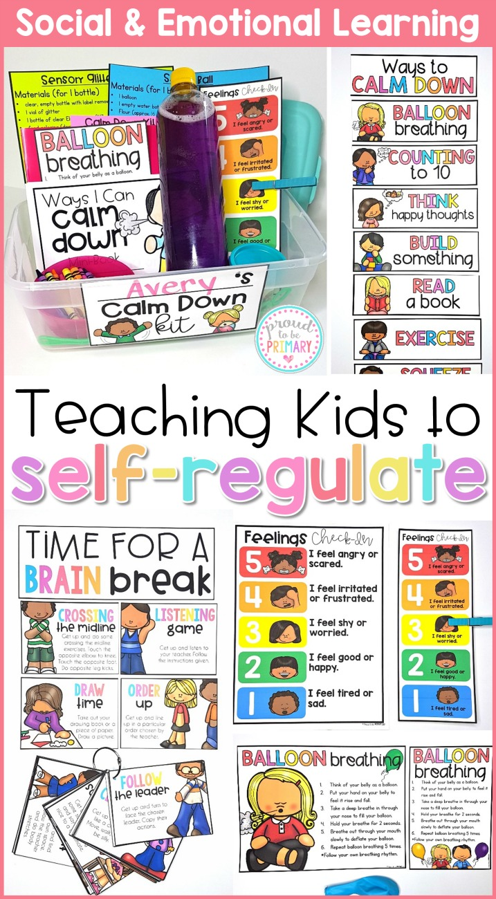 Ideas for teaching kids to self-regulate in the classroom and develop self-control and self-esteem. Teach children to manage their emotions and behaviors with a calming down kit, yoga, and brain breaks. #selfregulation #calmdownstrategies #classroommanagement #socialresponsibility #socialemotionallearning
