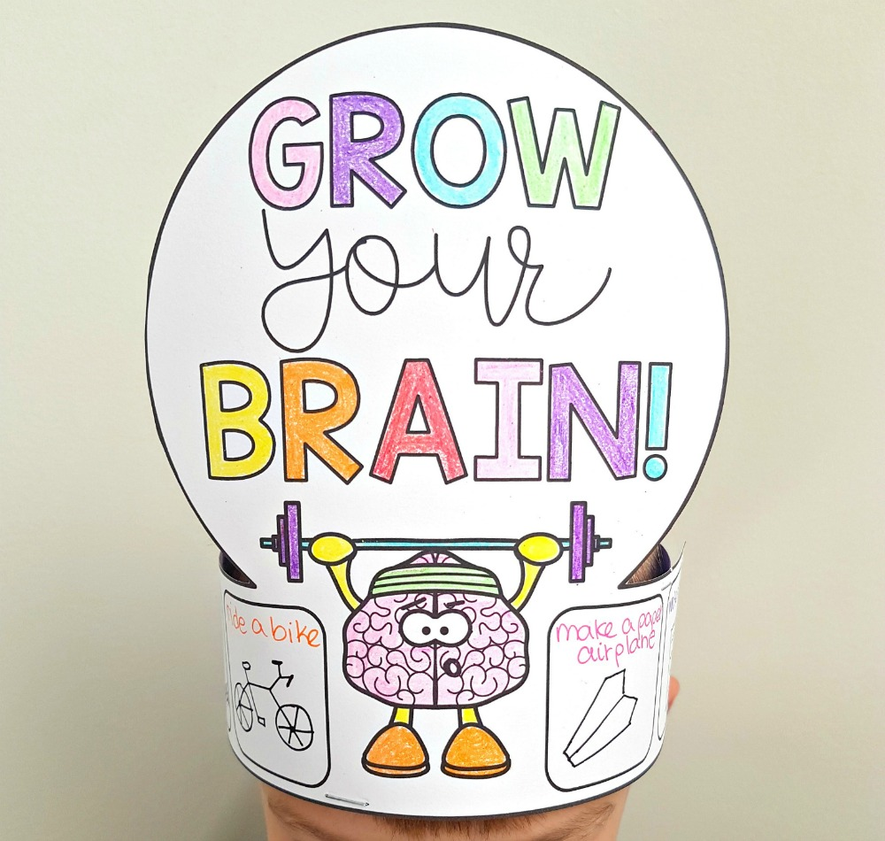 growth mindset examples - grow your brain growth mindset hat activity