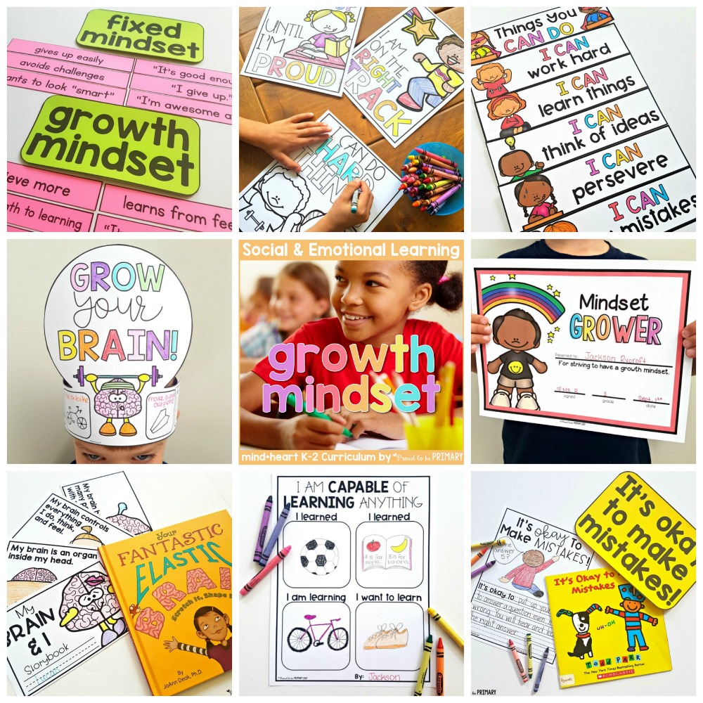 growth mindset resources for k-2 teachers and classroom activities for kids