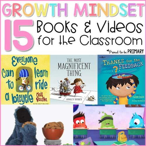 15 growth mindset books and videos for the classroom to teach kids to have a growth mindset rather than a fixed mindset. Teachers can use these growth mindset books and videos during social-emotional learning lessons and activities with kids. #growthmindset #socialemotionallearning #charactereducation #booksforkids #growthmindsetbooks #growthmindsetvideos