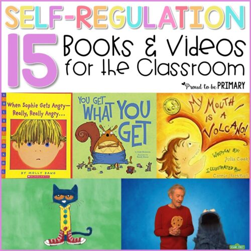 15 self-regulation and self-control books and videos for the classroom to teach kids to calm down, self-regulate, and manage their behavior. Teachers can use these books and videos during social-emotional learning lessons and activities with kids along with yoga, breathing exercises, and using a calm down kit. #selfregulationactivities #selfcontrolactivities #socialemotionallearning #charactereducation #booksforkids #selfregulationbooks #calmingstrategies #yogaforkids
