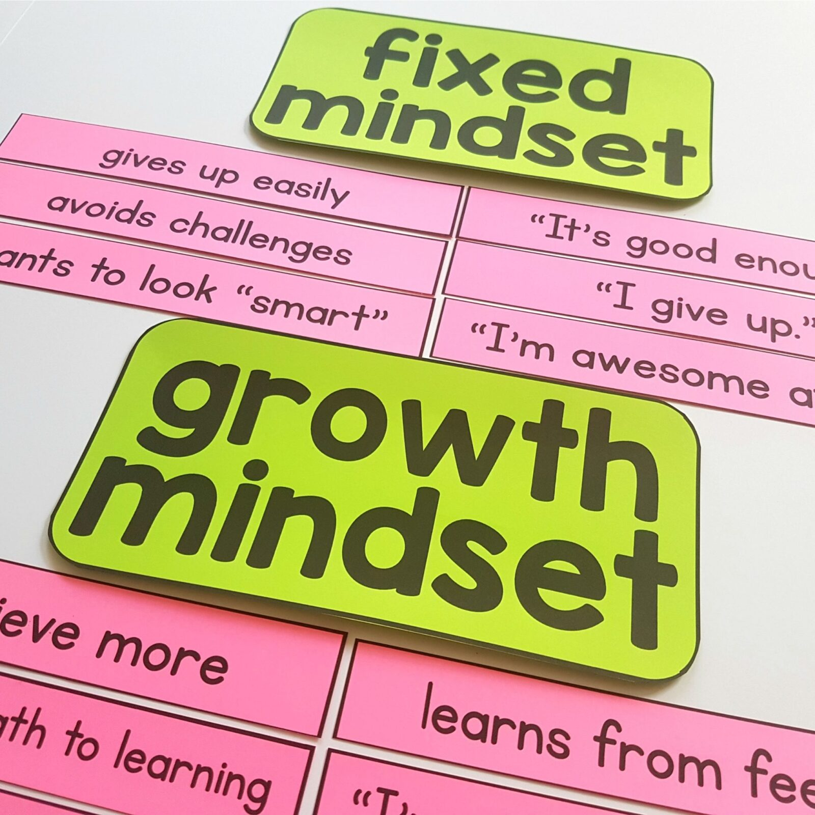 growth mindset examples - growth mindset versus fixed mindset sentence sort activity for kids