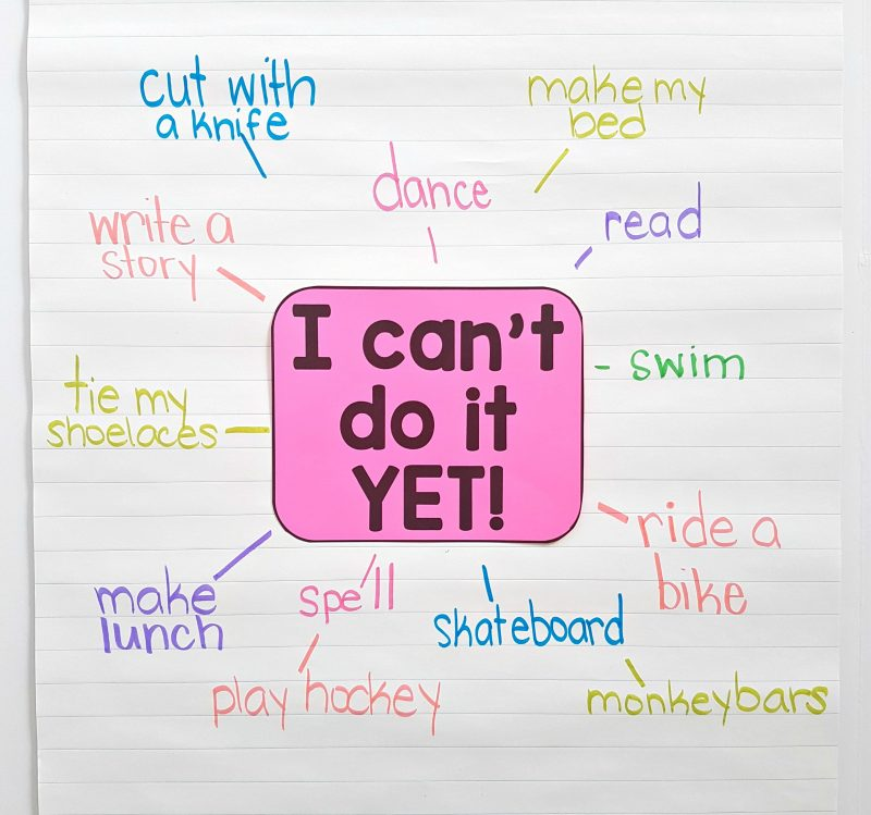 """I can't...yet"" anchor chart growth mindset - social-emotional learning activities"