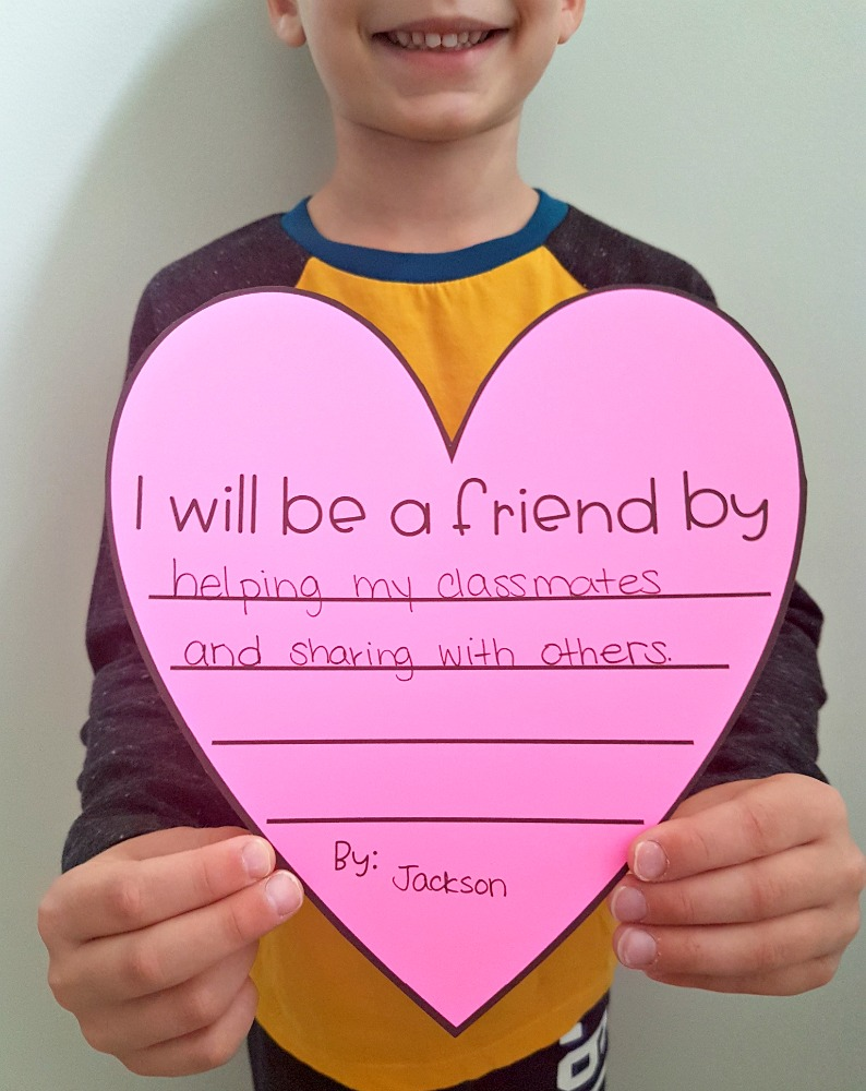 children's books about friendship - I will be a friend heart writing activity