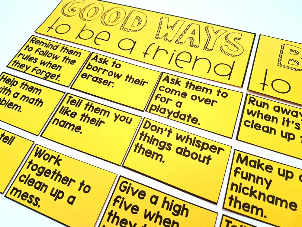 children's books about friendship - good ways to be a friend and bad ways to be a friend sentence sort