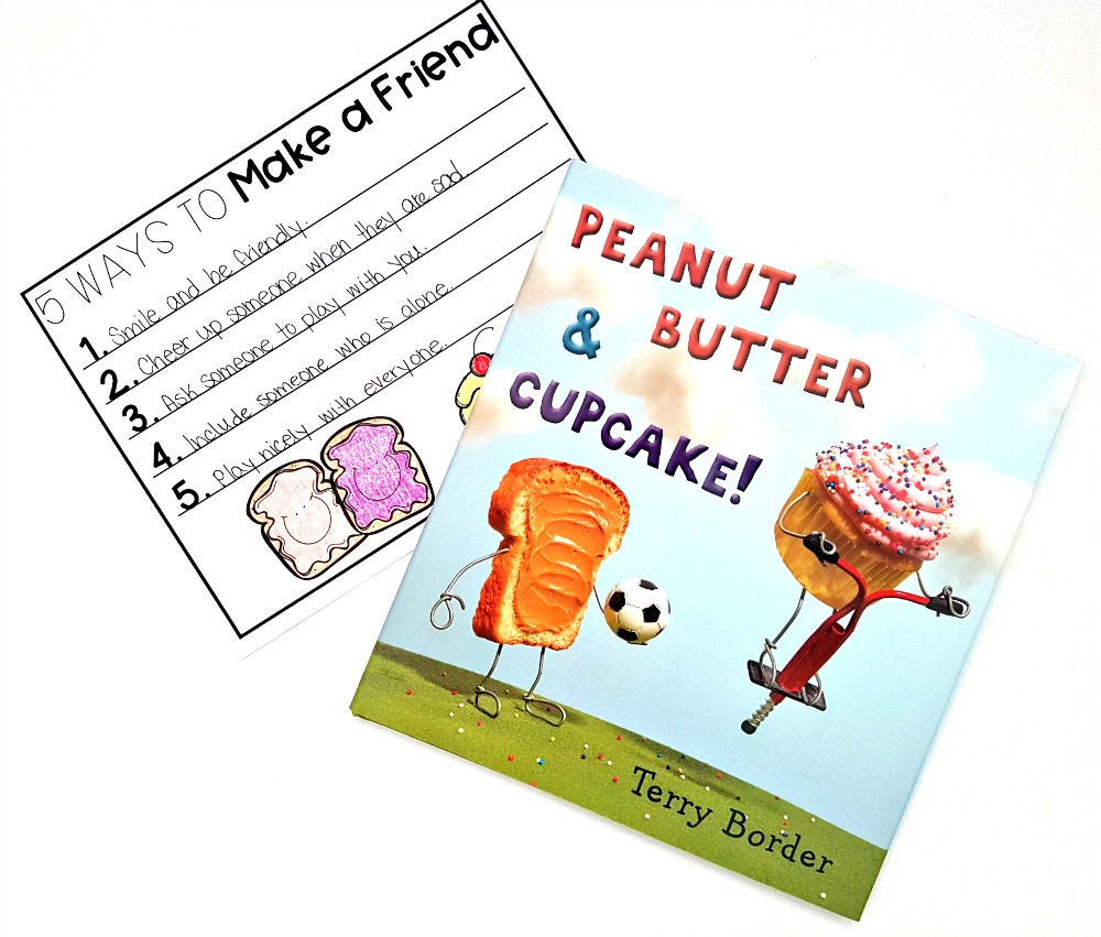 children's books about friendship - peanut butter and cupcake book writing activity