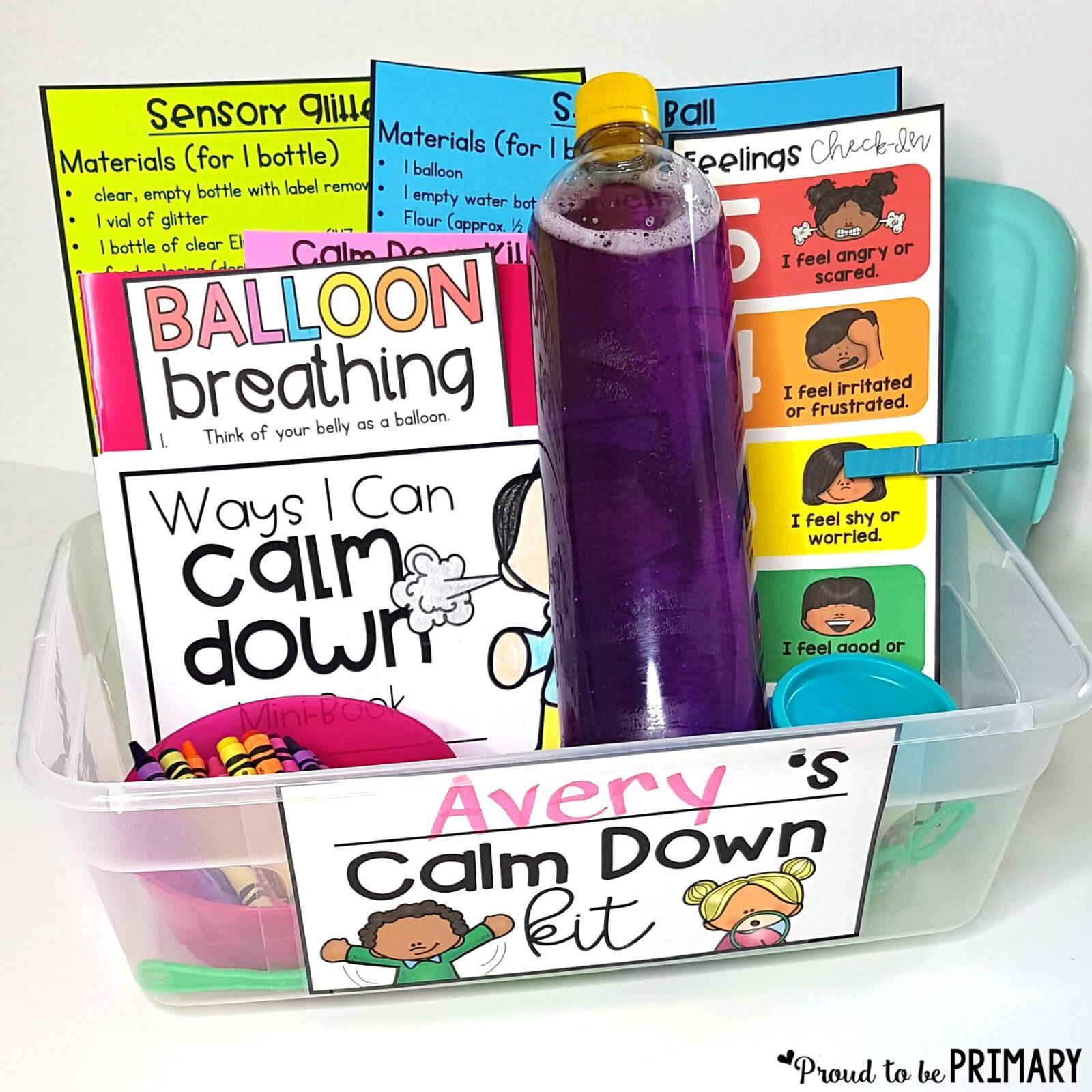 self-regulation strategies - calm kit used to help kids self-regulate their emotions