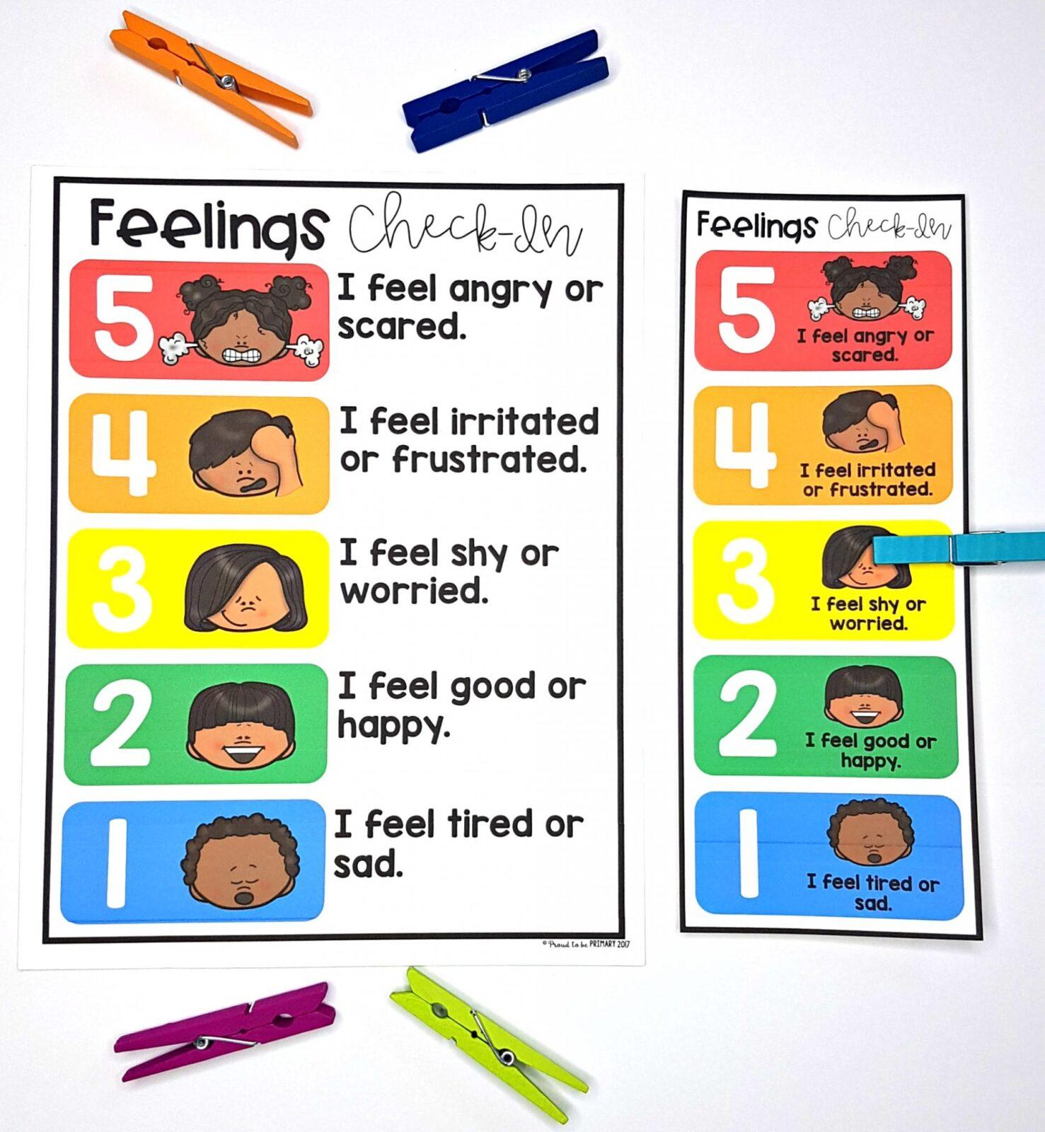 self-regulation strategies - feelings clip chart activity to help kids self-regulate their emotions