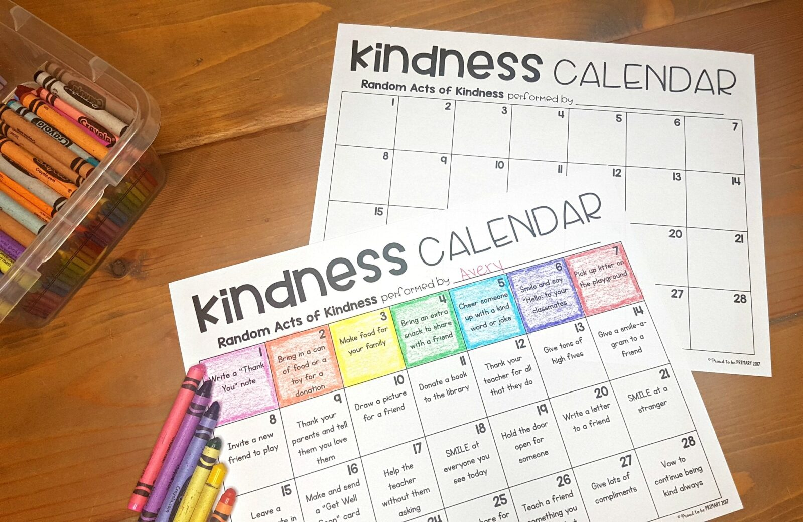 kindness calendar on table with crayons