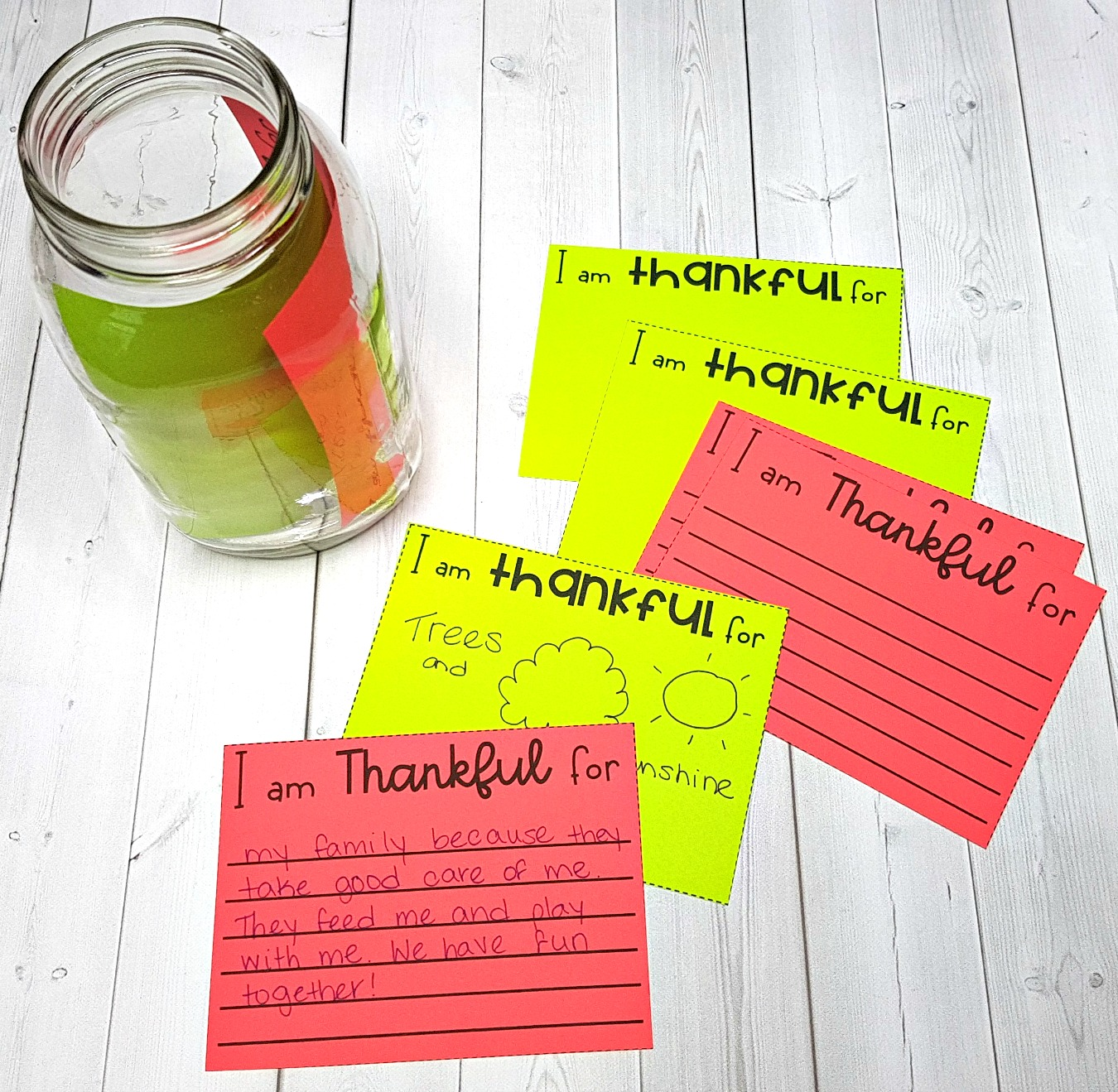 teaching respect - thankful note cards on table with jar