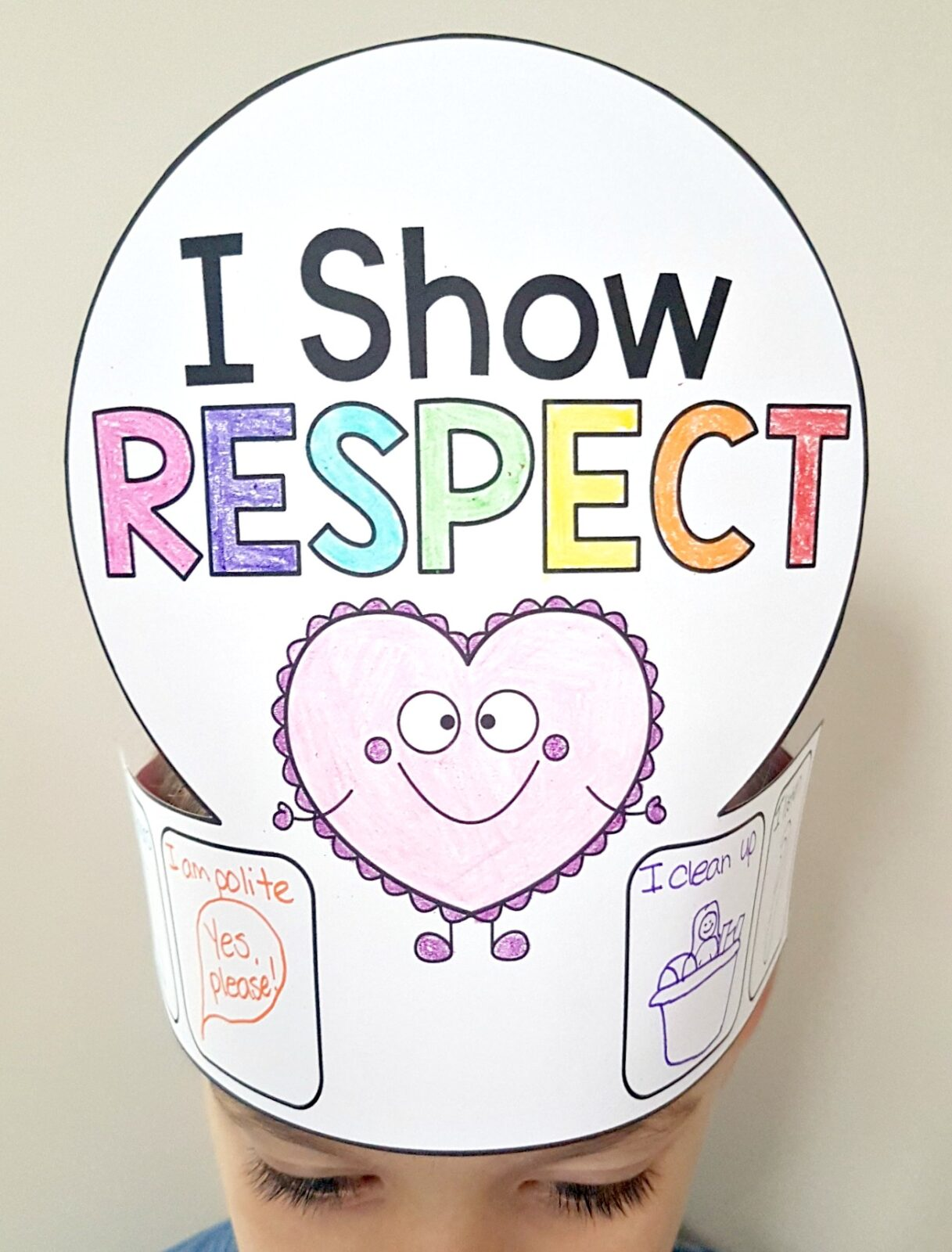 I show respect hat craft with examples on head of child