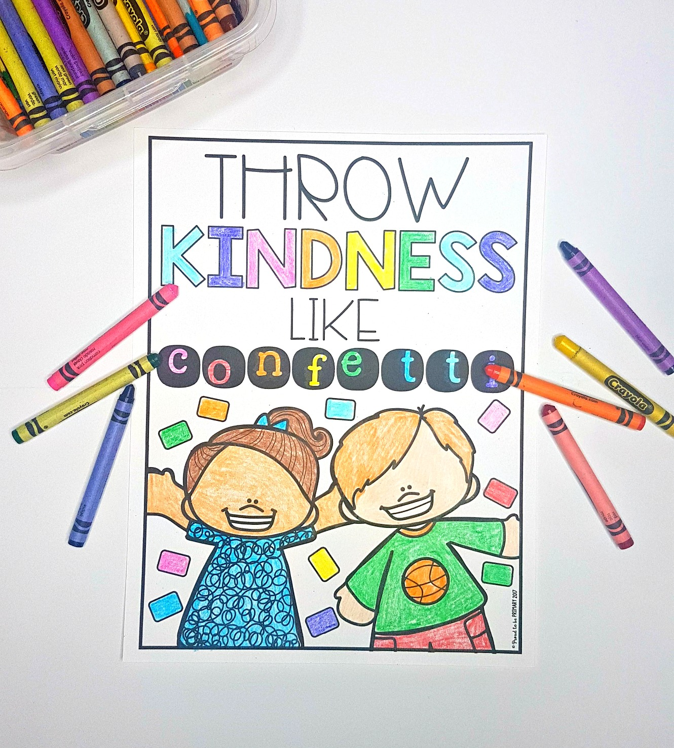 kindness books and videos for the classroom - throw kindness like confetti quote coloring poster for kids on table with crayons