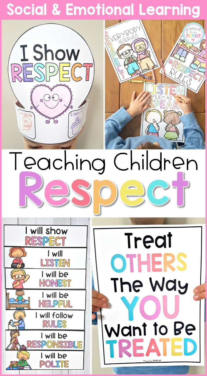 "hat craft that says ""I show respect"", coloring respect quote posters on table, I will show respect posters, and the golden rule poster"