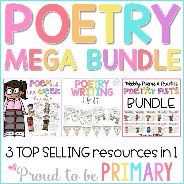 poetry mega bundle - poem of the week, poetry writing unit, poetry mats bundle