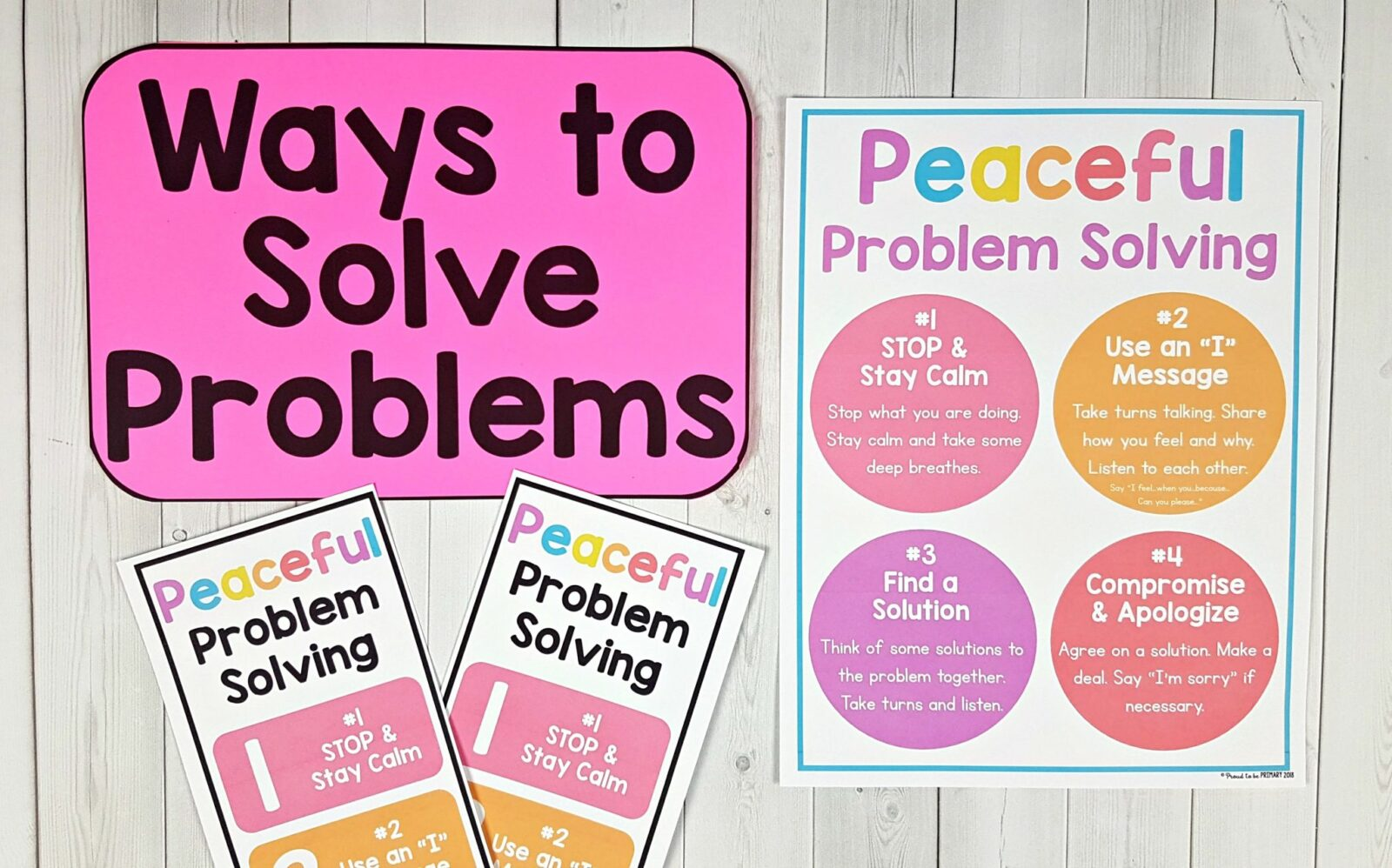 ways to solve problems posters on table